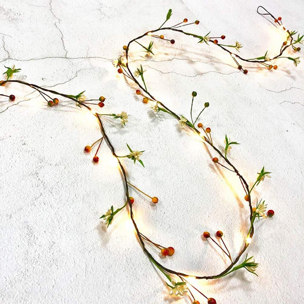 Cordão de luzes de led com 2m e 20 lâmpadas, fio de cobre fruta, iluminação para festas, luzes de natal, para ano novo, casamento decoração da festa,