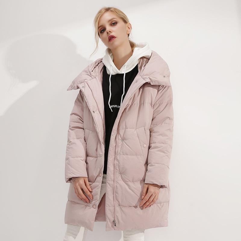 Winter 2019 New Ladies White Duck Down Fashion Warm Coat Womens Hooded Down Jacket Female