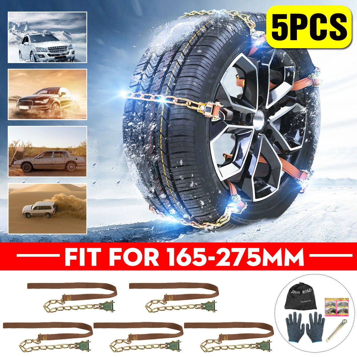 5PCS Car Truck Tire Snow Chains Winter Wheel Belt Mud Sand Roadway Safety Adjustable Wear-resistant Anti-Skid Snow Chains