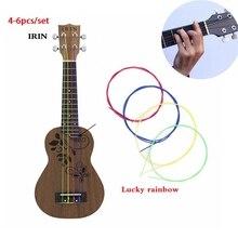 IRIN 4-6 unids/set Nylon Arco Iris colorido ukelele cuerdas Durable reemplazo parte para ukelele guitarra instrumento Musical Accessorie