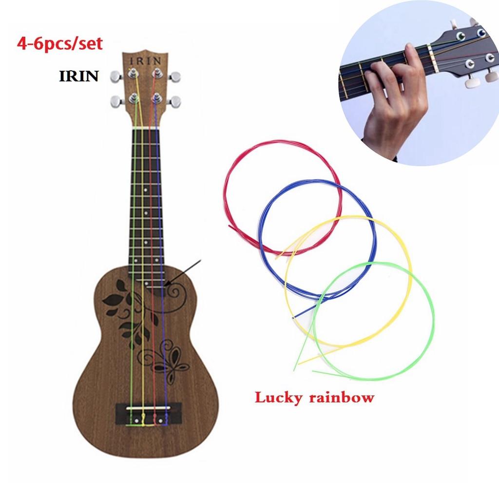 IRIN 4-6pcs/set Nylon Rainbow Colorful Ukulele Strings Durable Replacement Part for Ukulele Guitar Musical Instrument Accessorie