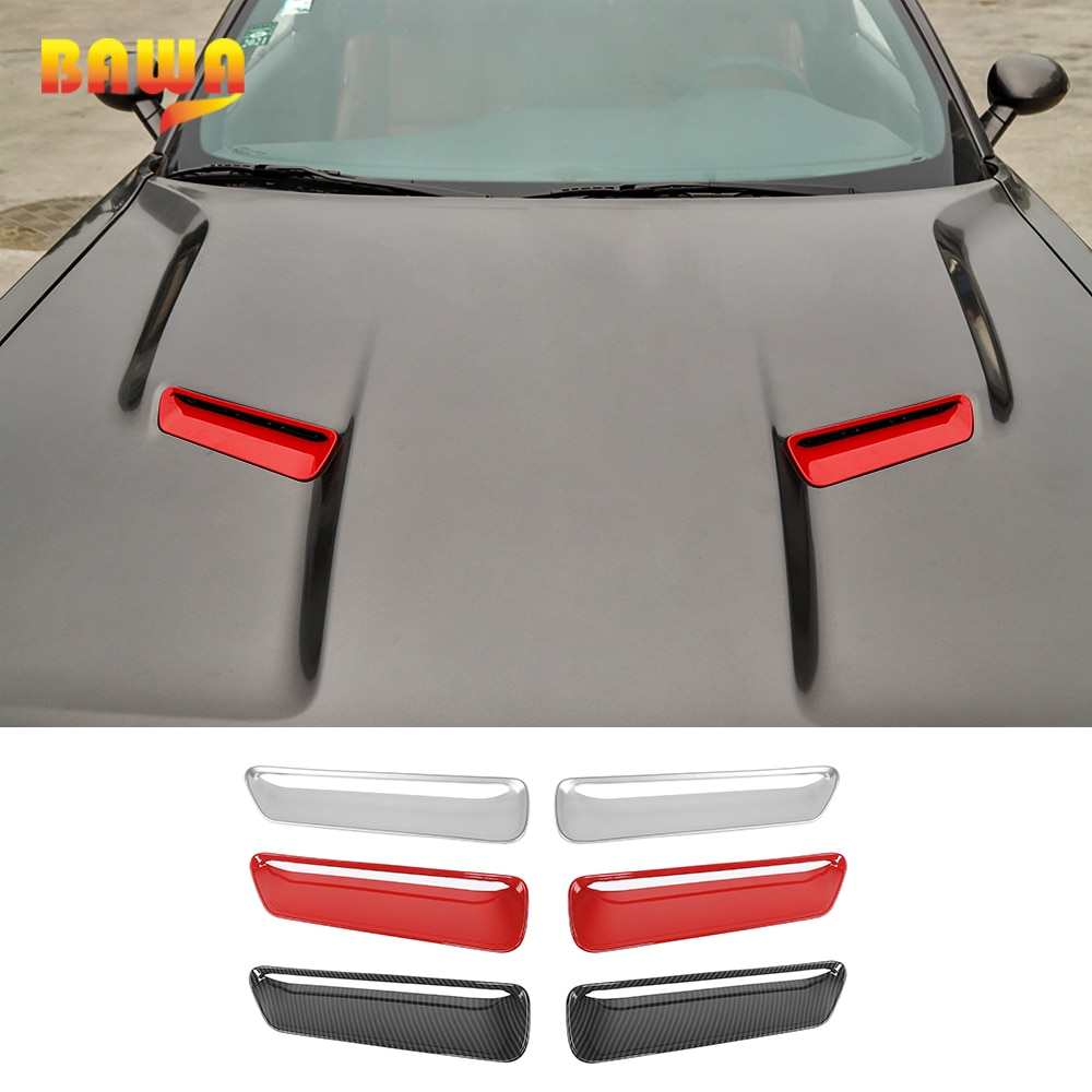 BAWA Exterior Mouldings Accessories for Dodge Challenger Car Air Inlet Decorative Cover Stickers for Dodge Challenger 2015+