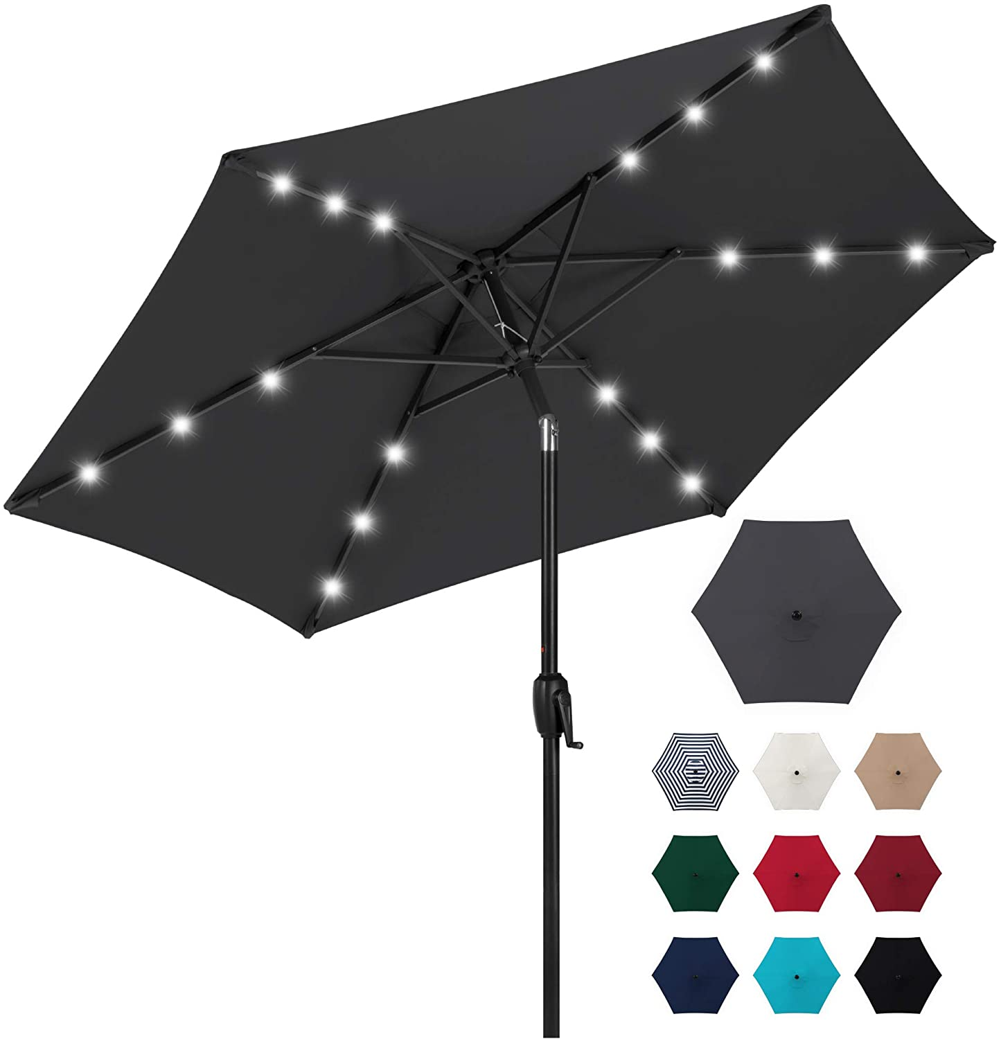 Best Choice Products 7.5ft Outdoor Solar Market Table Patio Umbrella for Deck, Pool w/Tilt, Crank, LED Lights - Gray