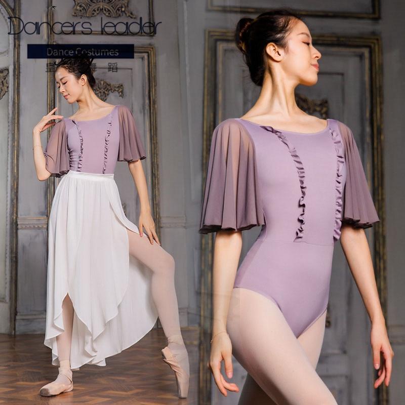 Ballet Leotard For Woman Ruffle Sleeve Swimsuit Adult Gymnastics Leotard Ballerina Classic Dance Costume Yoga Practice Clothes