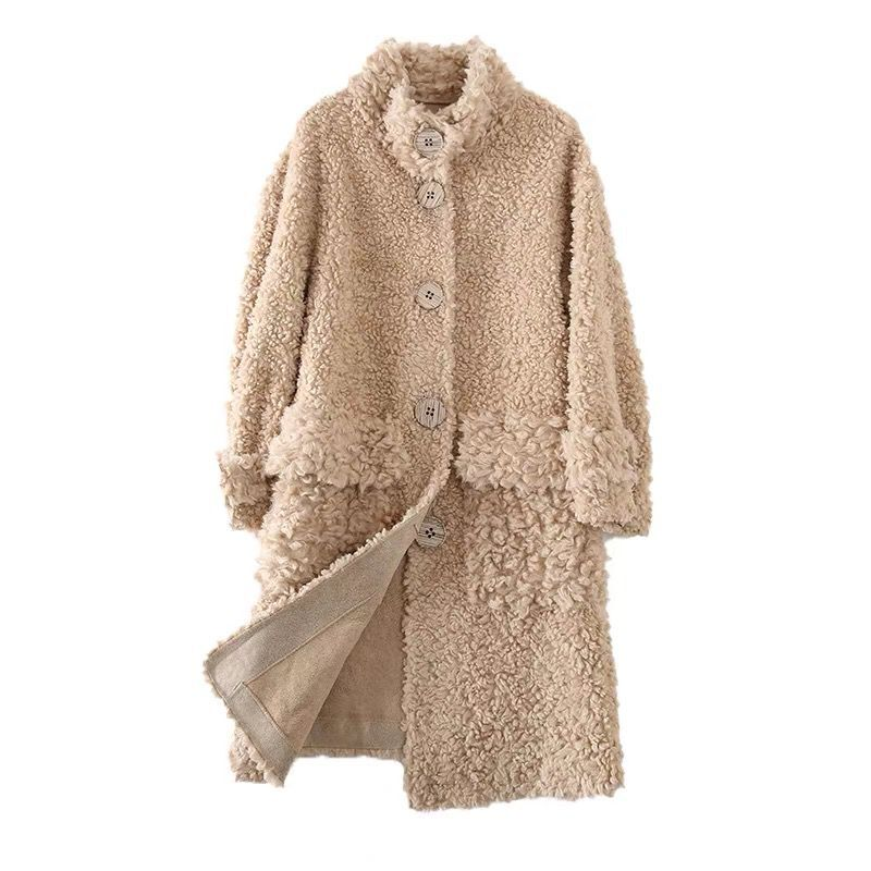 2021Autumn Winter Women Luxury Single Breasted Real Wool Fur Coat Korean Genuine Fur Sheep Shearing Mi-long Overcoat Femme Veste