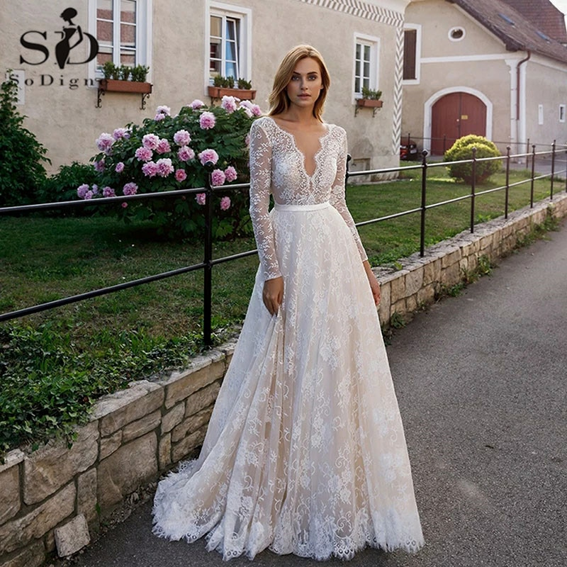 SoDigne elegante encaje vestidos de novia champán Sexy cuello pico ilusión espalda descubierta de manga larga Boho traje nupcial de playa Formal matrimonio