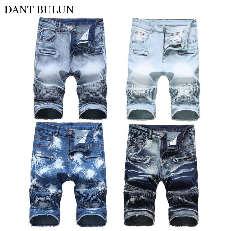 Летние джинсовые брюки, короткие байкерские джинсы стретч, мужские зауженные брюки, потертые рваные брюки, тонкие мужские шорты, горячая ра...