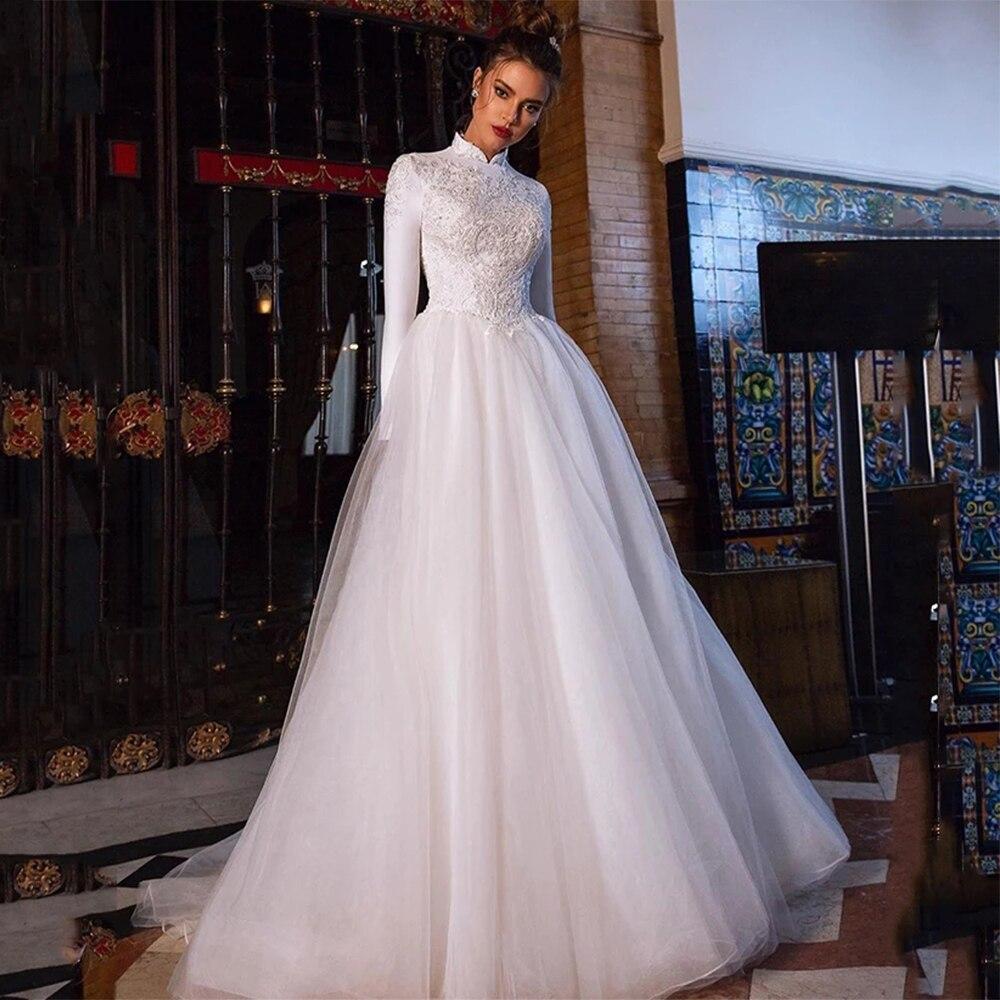 Мусульманские Арабские свадебные платья, винтажные кружевные платья с длинным рукавом и высоким воротом, а-силуэт, тюлевые Свадебные плать...