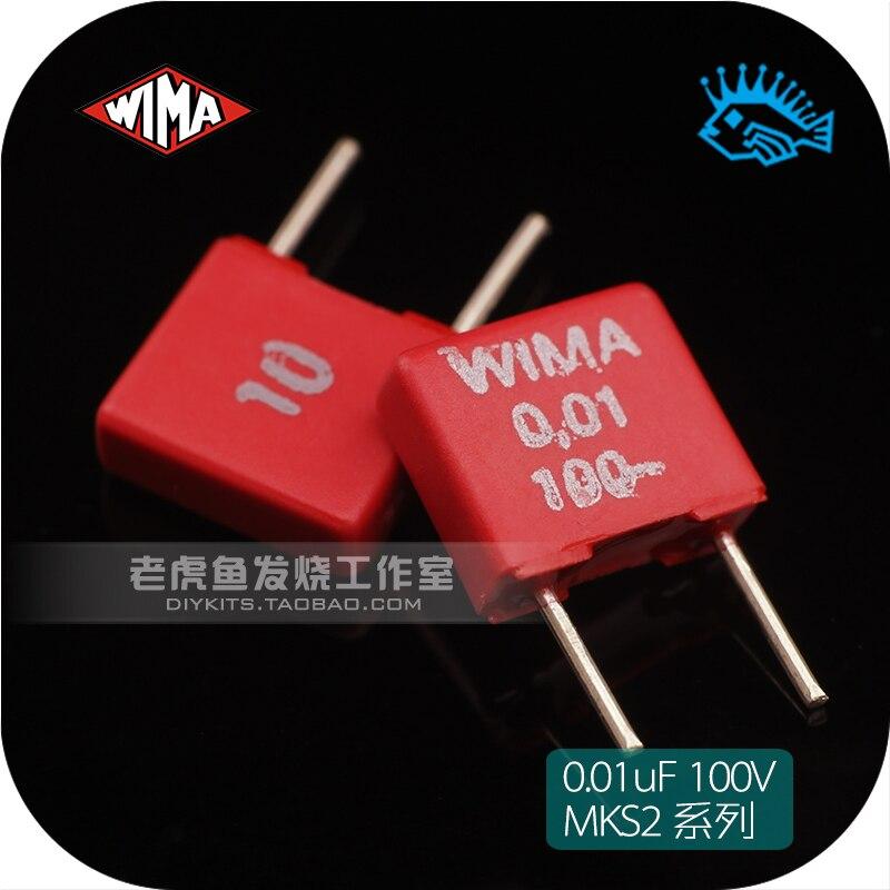 5 pçs capacitor de filme eletrodeless 0.01 uf 10nf 103 100 v série mks2 wima cavalo original autêntico alemanha