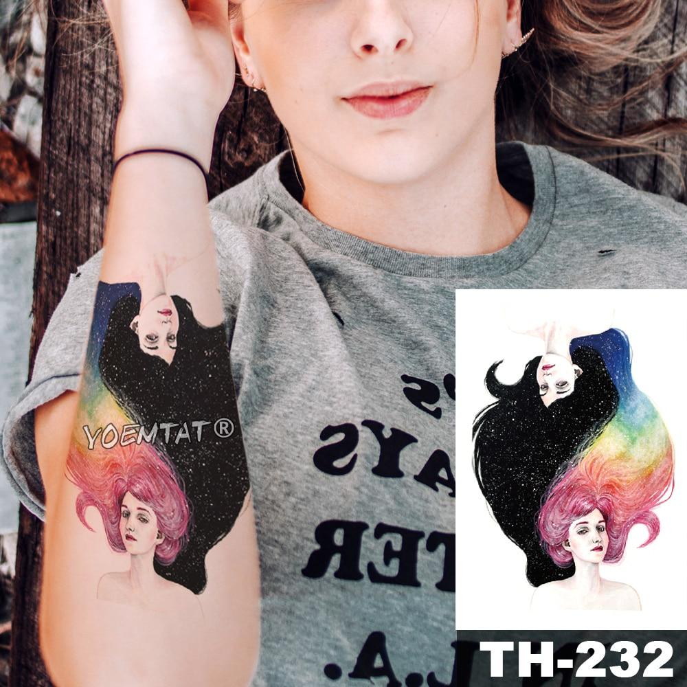 Tatuaje temporal impermeable pegatina Negro cielo estrellado y Arco Iris pelo chica patrón agua transferencia arte corporal flash tatuaje falso