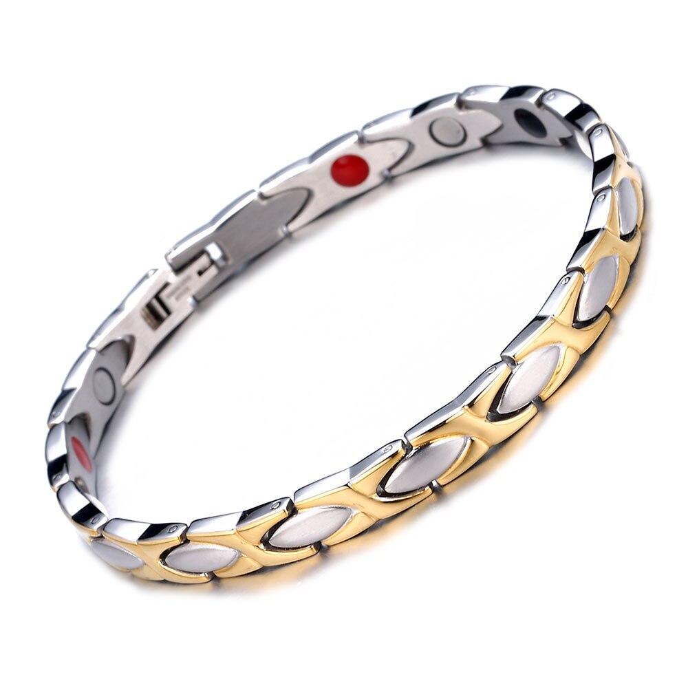 Energia de aço inoxidável cura artrite terapia energia magnética pulseiras para mulheres pulseiras médicas
