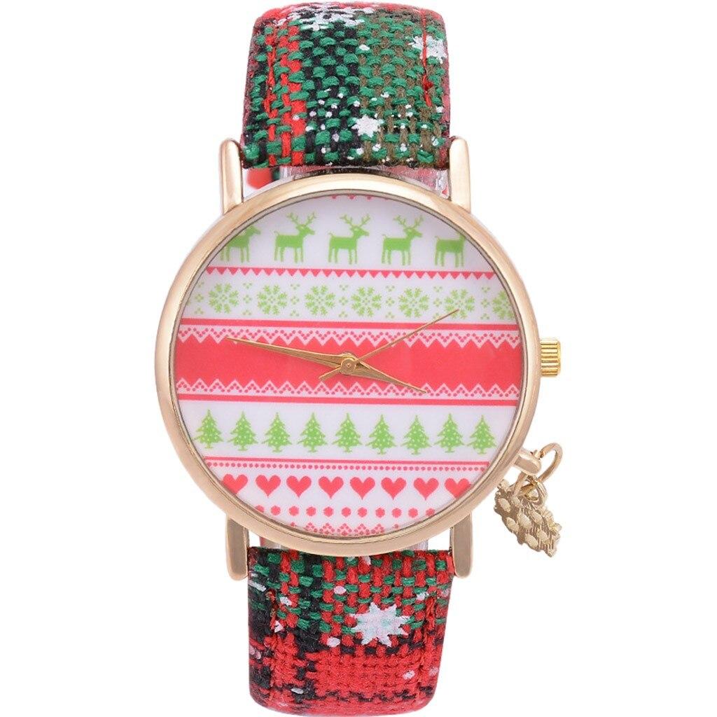 Weihnachten Casual Einfache Leder Schneeflocke Quarz Anhänger frauen Uhr часы женские наручные montre femme uhren para mujer