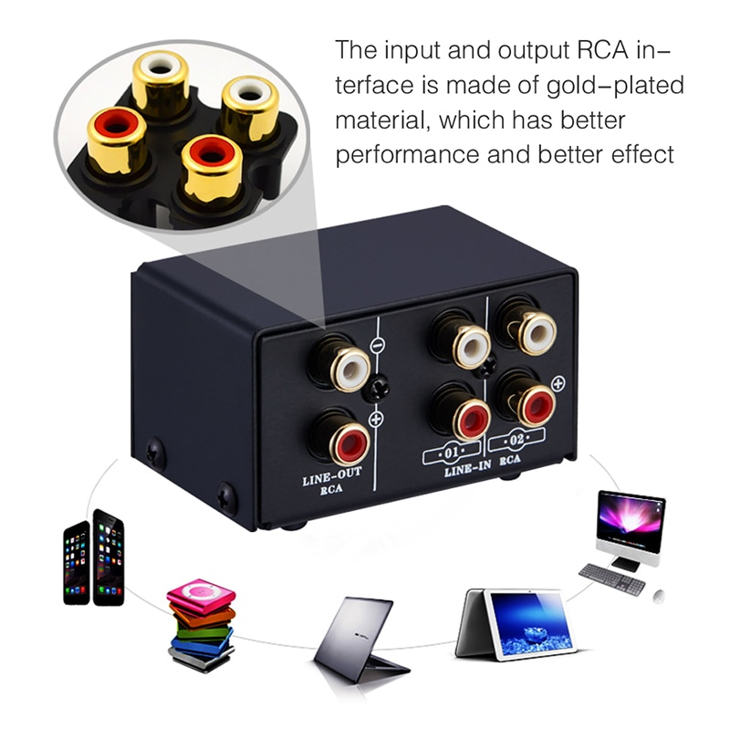 2 in 1 Out or 1 in 2 Out Source Signal Selector Switcher Speaker RCA Interface enlarge