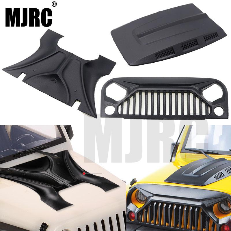 MJRC 1:10 RC Корпус Корпуса Jeep Wrangler Rubicon Для осевой SCX10 D90 90046 90047 313 мм Колесная база Angry face MS капот впускная решетка