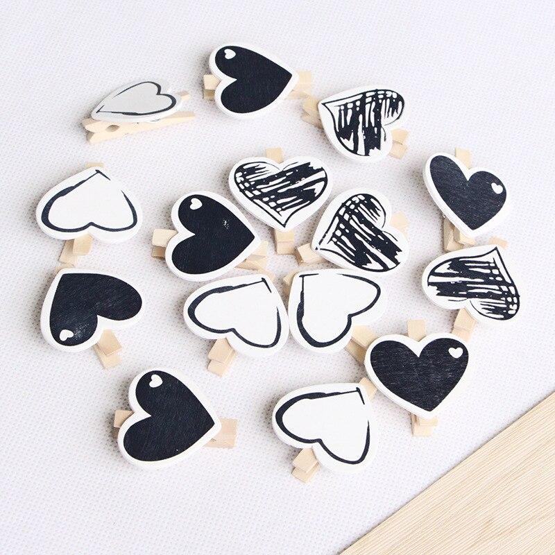 10 шт сердце 45x7 мм DIY черно-белые большие деревянные прищепки для одежды офисные вечерние аксессуары для украшения фото Подвесные прищепки