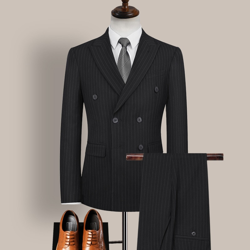 3 قطعة الدعاوى مجموعة بليزرز معطف السراويل سترة/2021 موضة الرجال بوتيك عادية مزدوجة الصدر مخطط منقوشة الأعمال فستان سترة