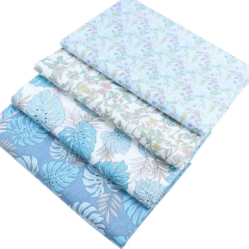 Syunss, Diy, tela de retales para acolchar, cojines de cunas para bebés, costura de Tissus, tela de algodón con hojas azules y pájaros
