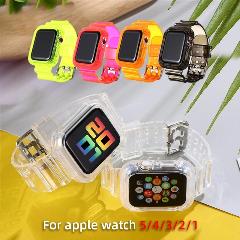AliExpress - New Transparent waterproof Strap for Apple Watch Band 38 40 42 44mm Silicone Transparent for Iwatch 6 SE Strap Series 2 3 4 5 6