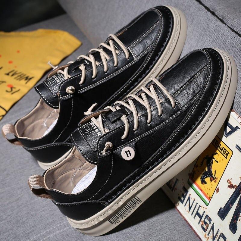 Couro do Plutônio Selvagem dos Homens Sapatos à Prova Sapatos Masculinos Primavera Verão Casual Sapato Tendência Apartamentos Dnon Água Antiderrapante Placa Calçado Masculino