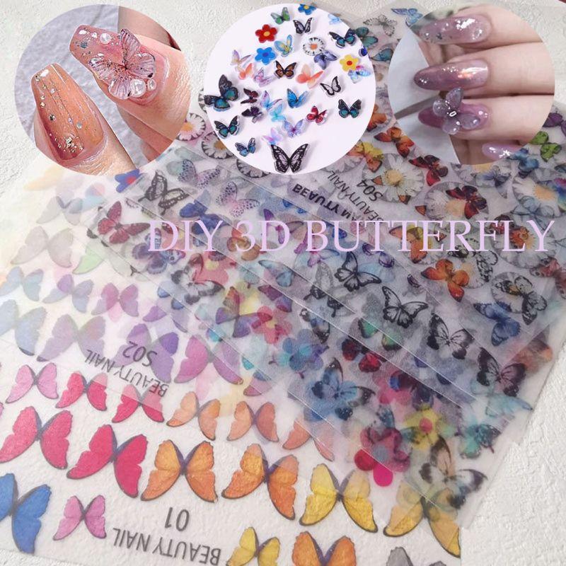 3d colorido borboleta folha calor psiquiatra artesanal mini fada arte do prego diy decoração gxmc
