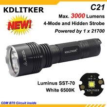 KDLITKER C21 Luminus SST-70 3000 Lumens lampe de poche LED 5 modes-noir (1x21700)