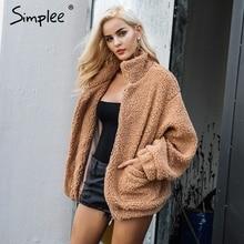 Simples pele do falso lambswool oversized jaqueta casaco de inverno preto quente casaco de pêlo feminino outono senhoras outerwear feminino