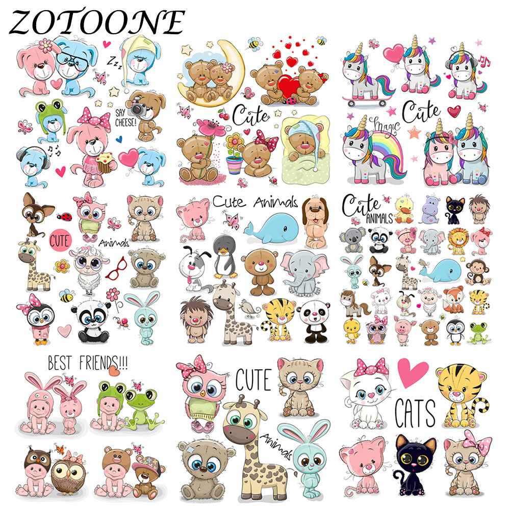 ZOTOONE Cute Animal Combination Unicorn Iron on Patches for Clothing Thermo Stickers Heart Transfers Patch Applique Kid Clothes
