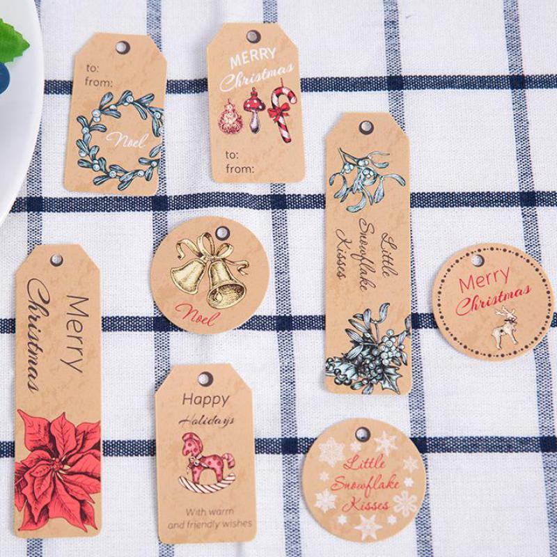 80pcs/set Christmas Kraft Paper Tags Christmas Theme Snowflake Tags Hanging Kraft Paper Label Xmas Hang Tag Wedding Holiday