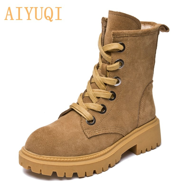 AIYUQI Women Booties Spring 2021 New Genuine Leather Suede Ladies Martin Boots British Style Lace Up