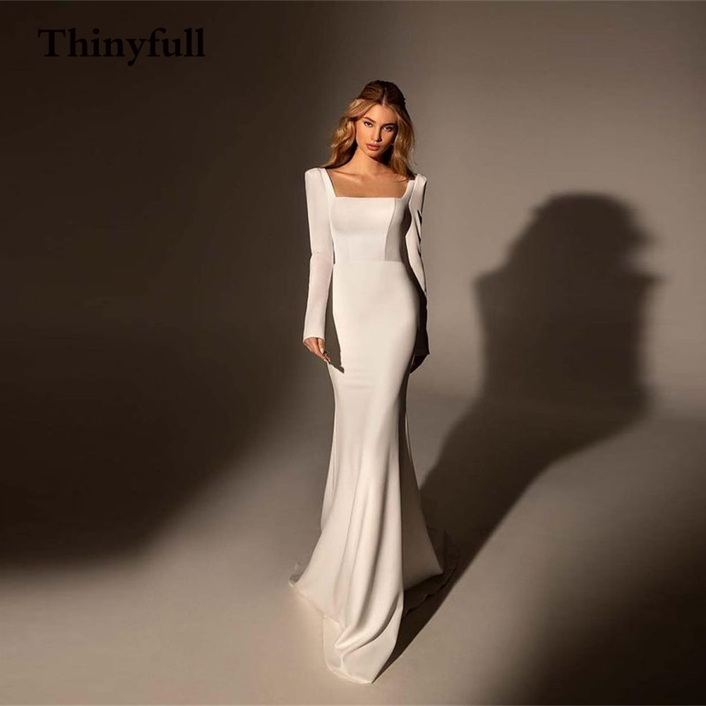 Promo Thinyfull Elegant New Soft Long Wedding Dress Square Neck Long Sleeves Country Boho Bridal Bride Dresses Gowns Robe de mariee