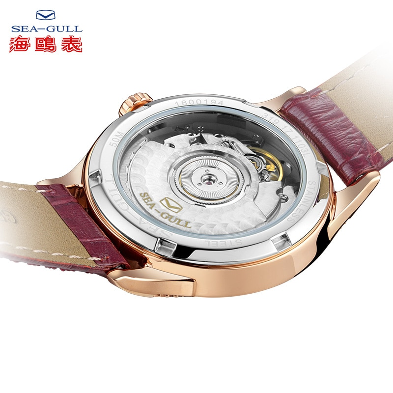 Seagull ladies watch casual simple wild automatic mechanical watch leather calendar sapphire watch 719.17.1103L enlarge