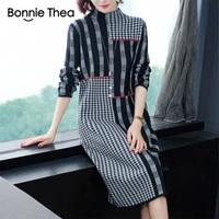 bonnie thea women autumnwinter womens new sweater loose fitting plum size mid length bottom woolen sweater dress