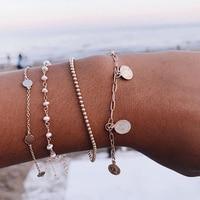 IPARAM Vintage Golden Geometric Bracelet Set for Female Bohemian Coin Pendant Beads Chain Pearl Bracelet Jewelry Wholesale