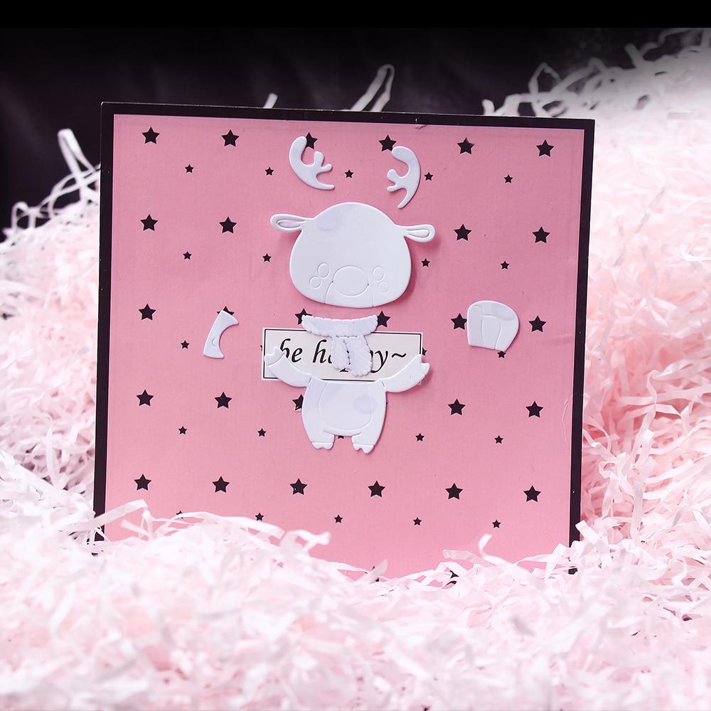 Álbum de recortes acero de carbono DIY cuchillo molde manual álbum en relieve rompecabezas molde con grabado-Cabeza de ciervo modelos navideños