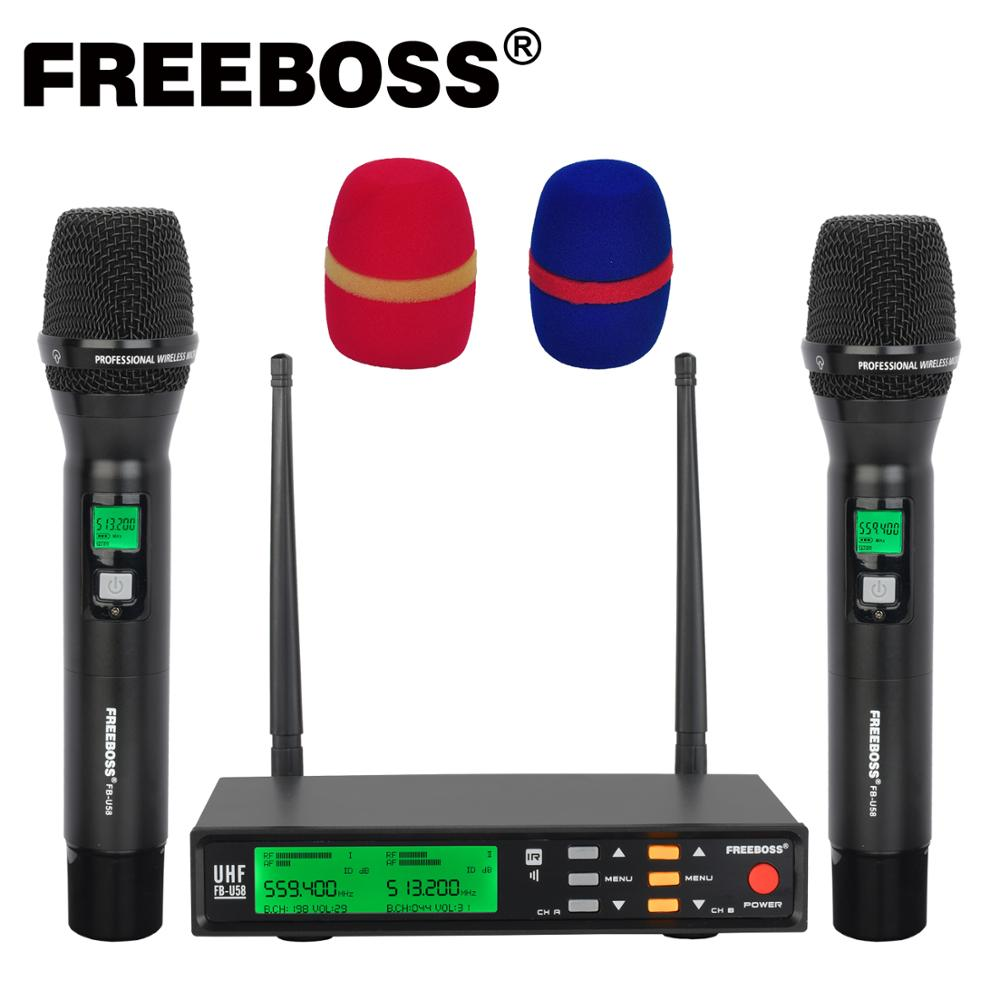 Freeboss FB-U58 UHF 2*200 قابل للتعديل تردد المعادن يده شاشة LCD الخيار الذكي صدى و EQ ميكروفون نظام ل DJ