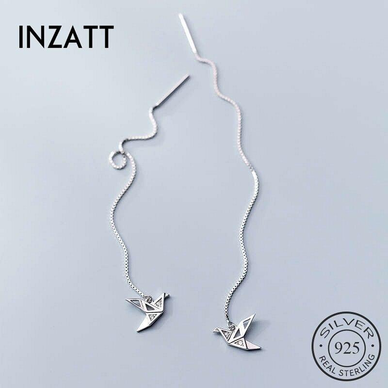 INZATT Plata de Ley 925 auténtica pendiente de tuerca de la grúa del circón para las mujeres de moda parte Linda joyería fina accesorios minimalistas regalo