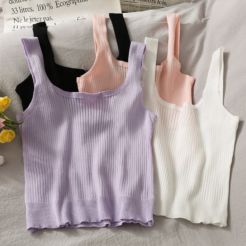 Sneaky Design Short Bare Midriff Slim Fit Slimming Knitted Camisole Women's New Pure Color All-Match
