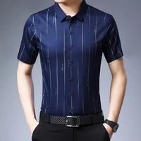 men stripe buttons social shirt summer turndown collar thin t shirt short sleeve breathable slim male tops for dating