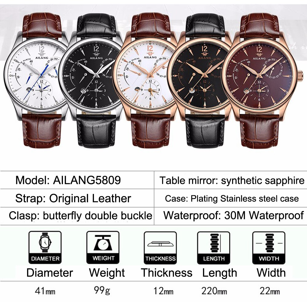 AILANG 2021 Pointer 30M Waterproof New Men's Multifunctional Automatic Mechanical Watches Leisure Business Luminous Watch 5809G enlarge