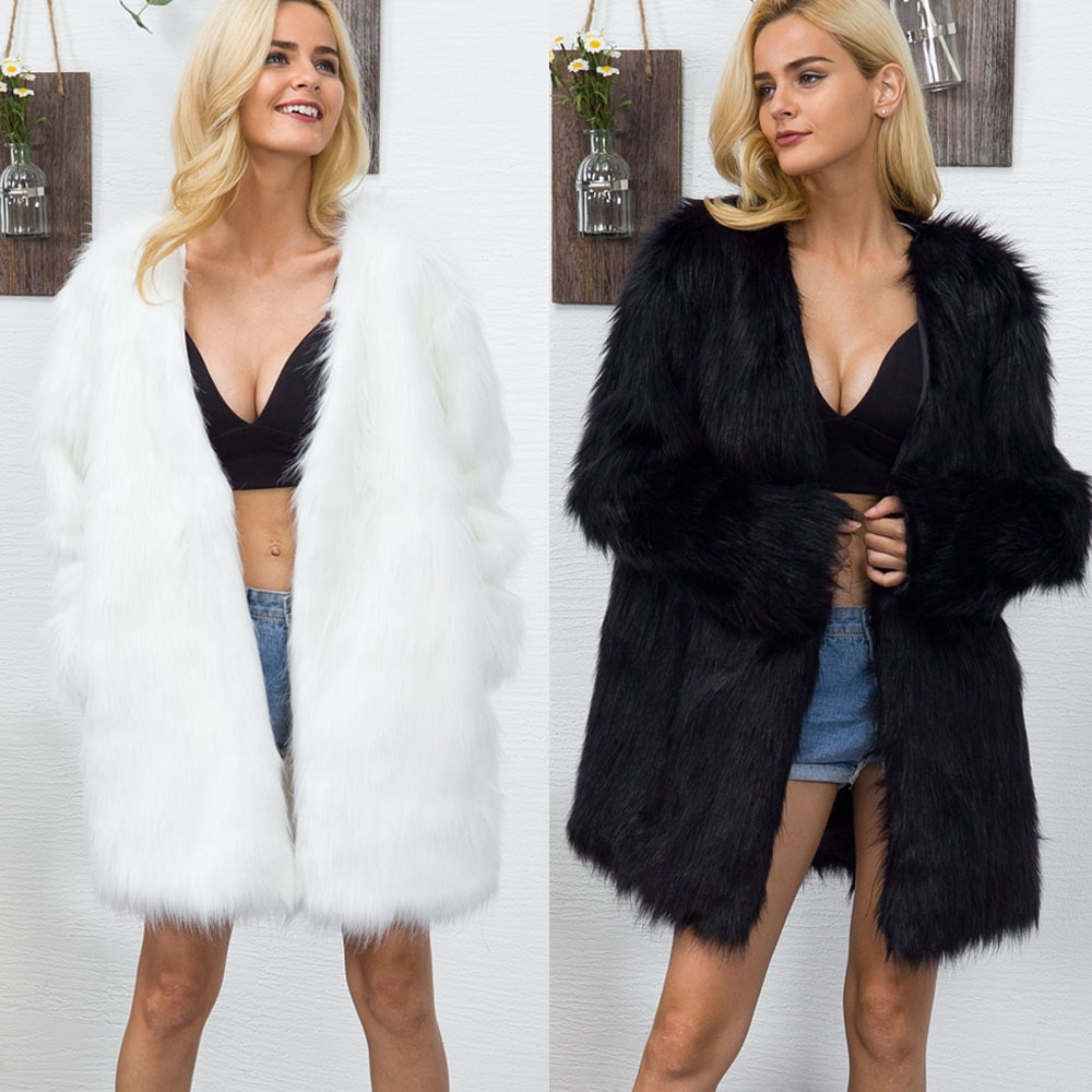 Fashion V-neck Faux Fur Coats for Women Mid-Length Fur Coat Popular Autumn Winter New Style Free Shipping