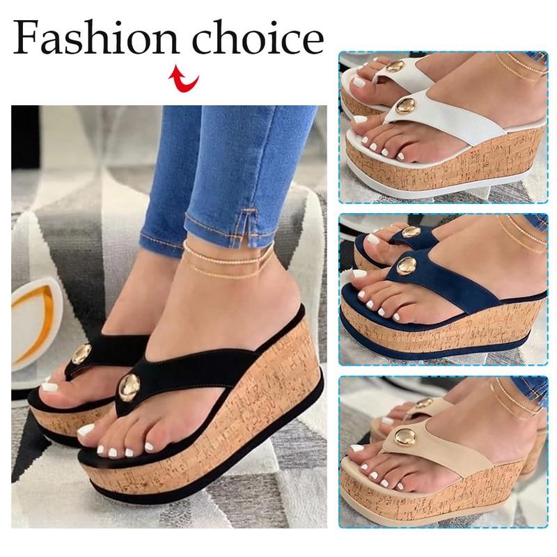 LITTHING Summer Wedges Slippers Platform High Heels Women Slipper Ladies Outside Shoes Clog Wedge Slipper Flip Flop Sandals