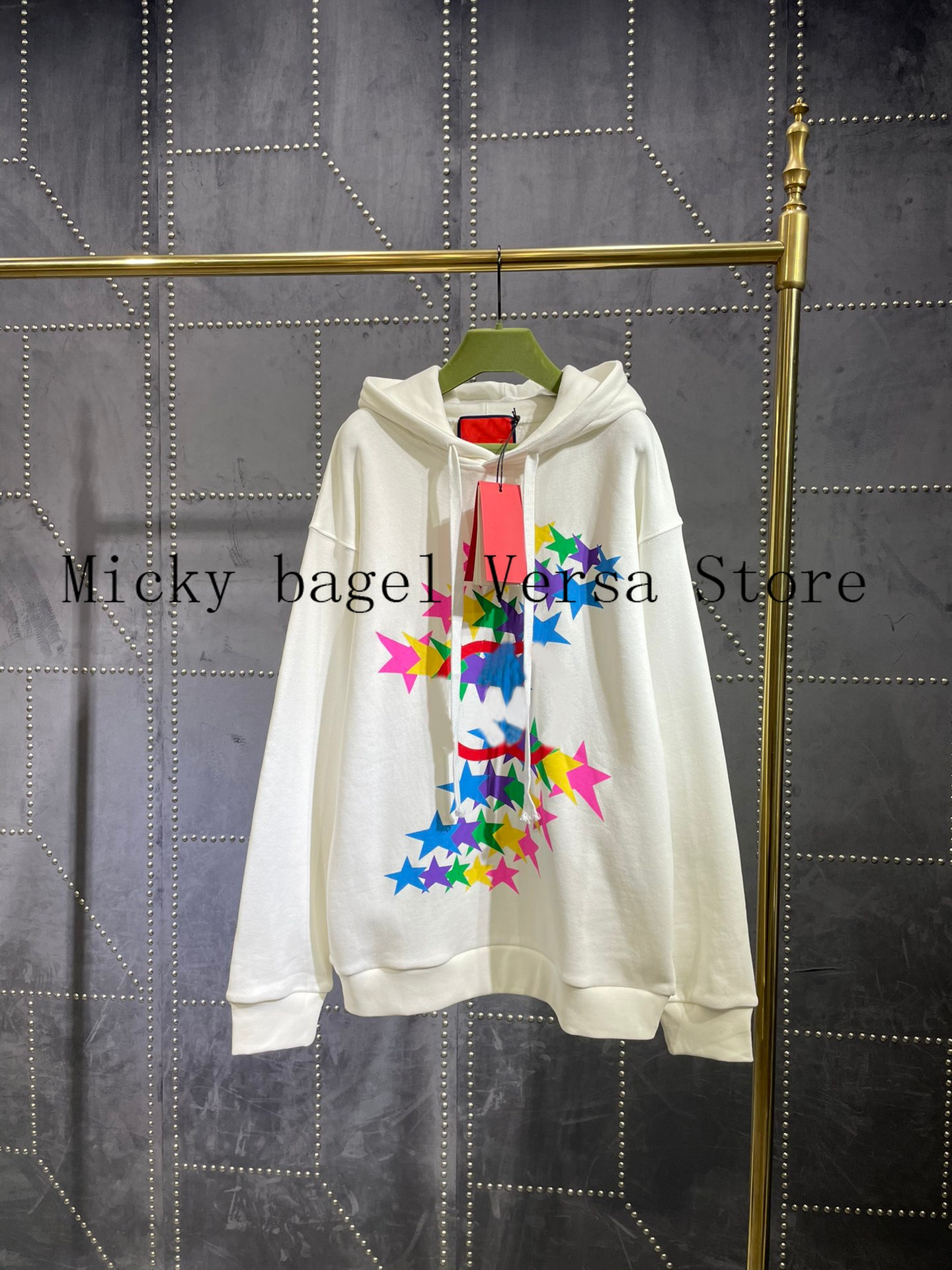 2021 luxury brand Pentagram letter printing fashion women's long sleeve top temperament versatile casual Cotton Hooded Pullover enlarge