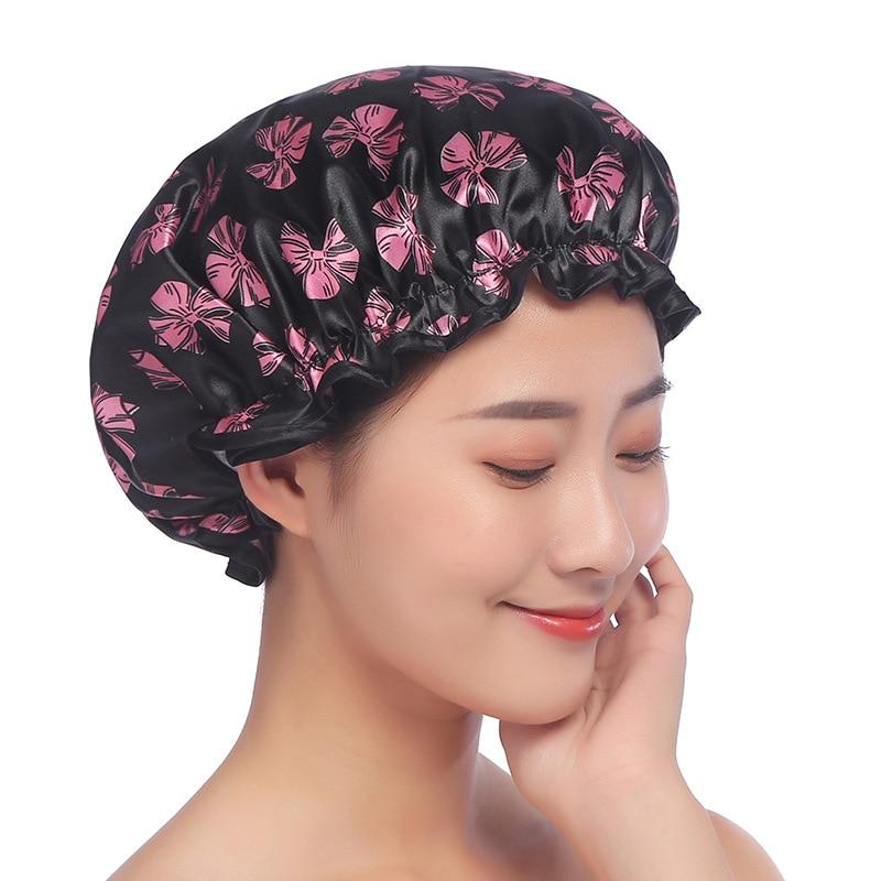 Hot Sale Shower Cap Waterproof High Quality Hair Salon Elastic 1PC Thicken For Women Bath Hat Bathroom Products Satin Bonnet