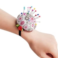 home diy pin cushion craft tool elastic strap sewing needle holder floral color women stitch needlework accessory needle pillow