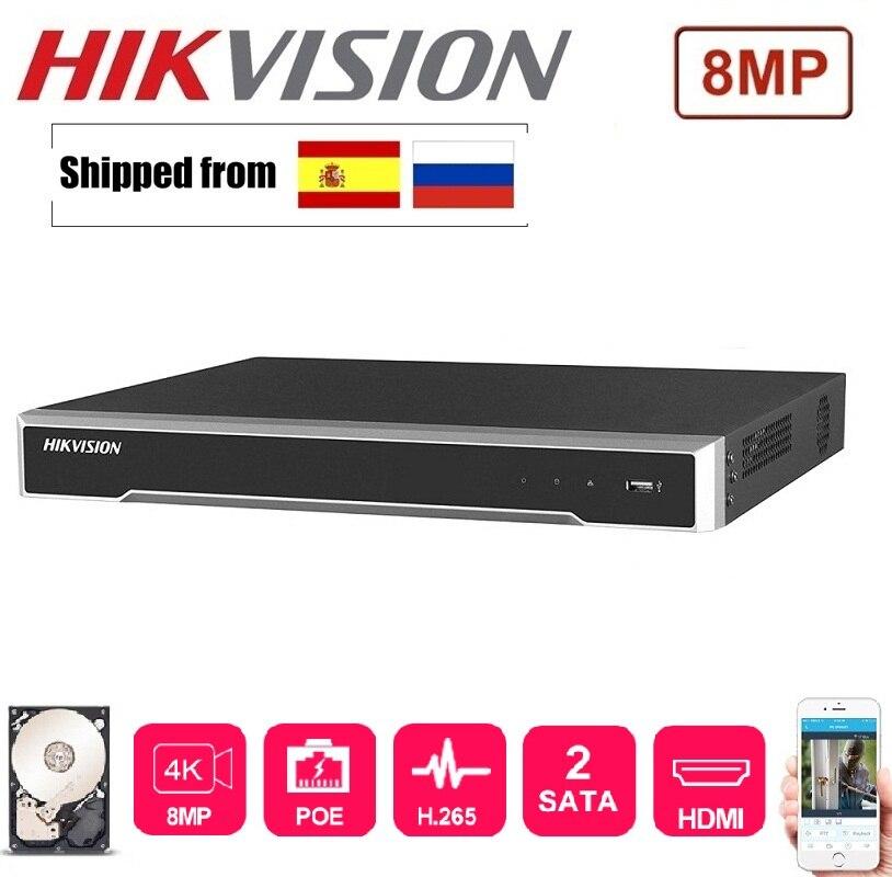 4K 8MP Hikvision DS-7608NI-K2/8P DS-7616NI-K2/16P English version 8/16 POE  ports NVR with 2SATA ports plug & play Network H.265