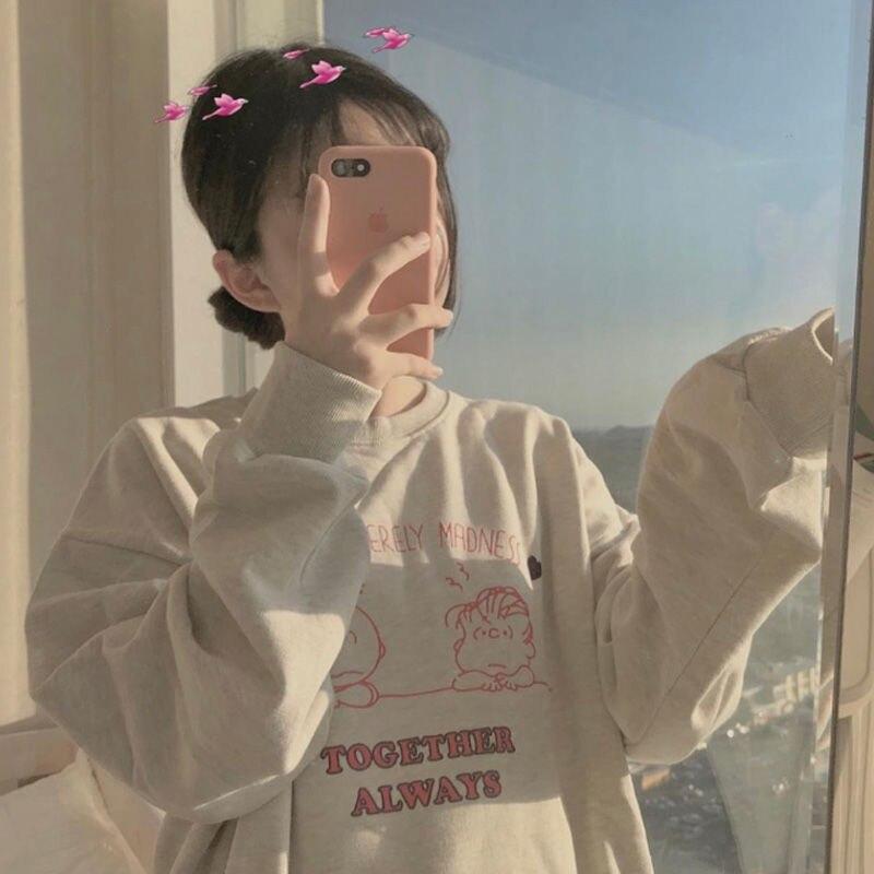 Корейский свитер с капюшоном, осенняя Женская одежда, свитшоты с круглым вырезом и длинным рукавом, повседневная Милая модная одежда с принтом для сестер и пар, новинка 2021