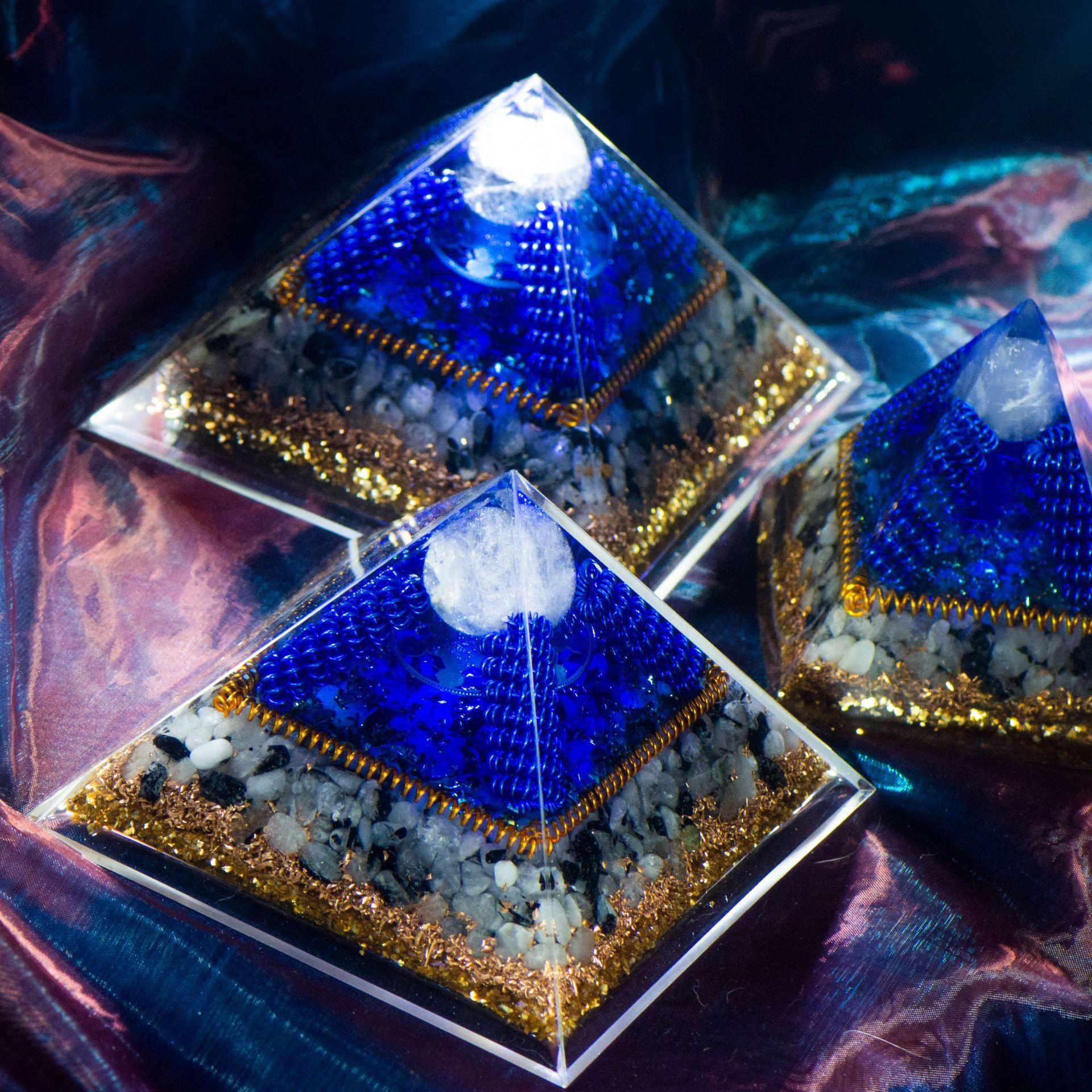 Natural Crystal Orgonite Energy Generator Gravel Healing Yoga Meditation Pyramid EMF Protection Original Resin Decorative Craft