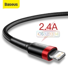 Baseus USB כבל עבור iPhone 12 11 פרו מקס Xs X 8 בתוספת כבל 2.4A מהיר טעינת כבל עבור iPhone 7 SE מטען כבל USB נתונים קו