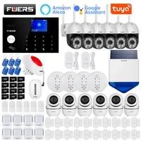 FUERS     systeme dalarme de securite domestique intelligent  wi-fi  4G  application Tuya  sans fil  1080P  camera Ip  sirene de controle  detecteur de mouvement  detecteur de fumee PIR