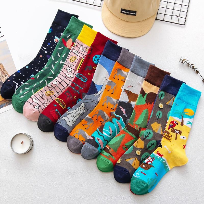 1 пара, мужские носки, мужские повседневные носки, хлопковые, уникальные, Мультяшные, забавные, милые, крутые, унисекс носки средней длины, ас...